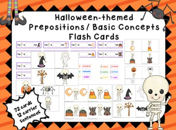 Halloween Prepositions / Basic concept 72 flash cards - speech therapy