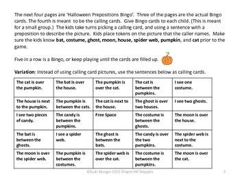 Halloween Prepositions Bingo