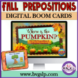 BOOM CARDS Following Directions and Prepositions Halloween Teletherapy