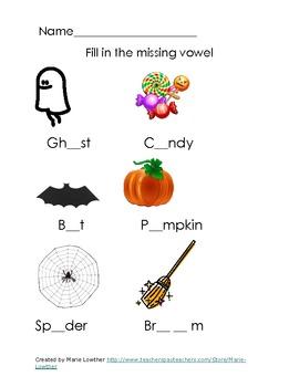 Halloween Preschool Kindergarten and first grade activity packet