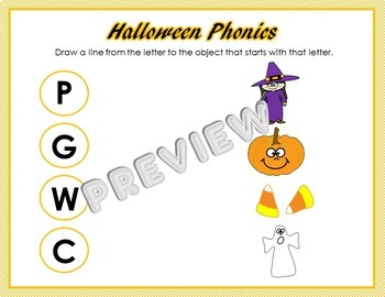 Halloween Preschool Phonics and Math Worksheets