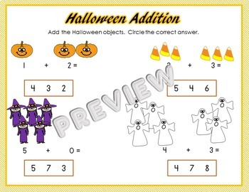 Halloween Preschool Phonics and Math Worksheets