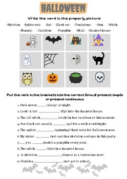 Halloween. Present Simple and Present Continuous.