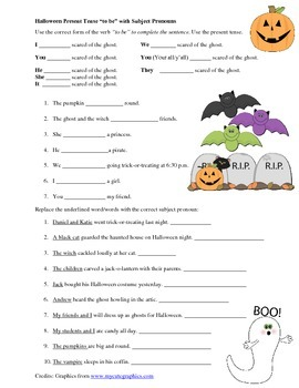 "Halloween - Present Tense ""TO BE"" and Subject Pronoun Practice"