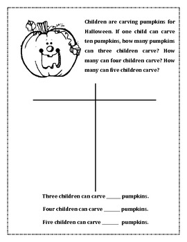 Halloween Primary Math Problem Solving
