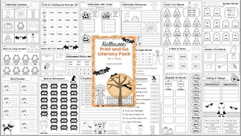 Halloween Print and Go Literacy Pack for First Grade