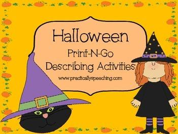 Halloween Print-n-Go Describing Activities
