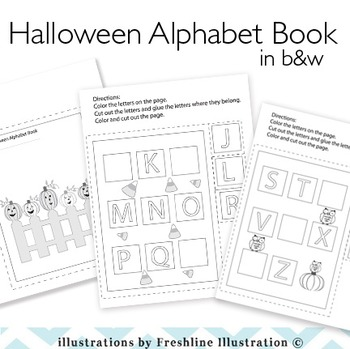 Halloween, Printable, Alphabet Book, Cut and Paste Book, Preschool, K, 1st Grade