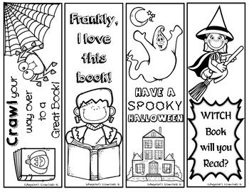 image about Printable Bookmarks Black and White known as Halloween Printable Bookmarks