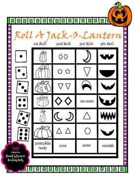 Halloween Printable Game- Roll A Jack-O-Lantern