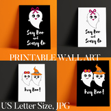 Halloween Printable Posters Cute Ghost, Say Boo & Scary On
