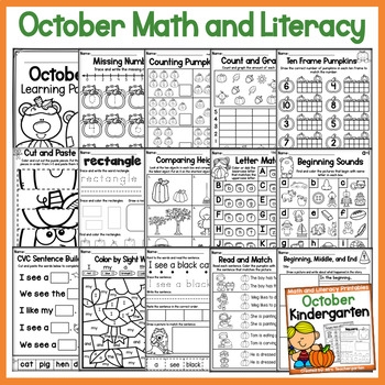 October Kindergarten Math and Literacy Printables