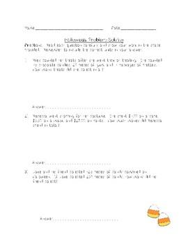 Fourth Grade Halloween Problem Solving
