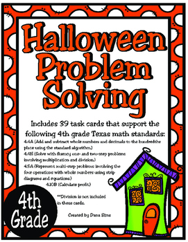 Halloween Problem Solving: 4th Grade TEKS 4.4A, 4.4H, 4.5A, 4.10B STAAR Practice