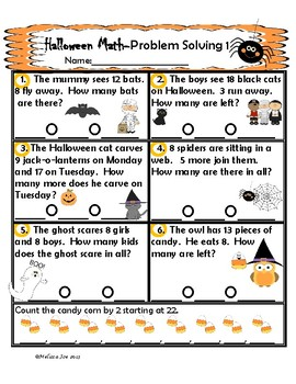Problem Solving Sheets Addition and Subtraction to 20 Halloween Theme