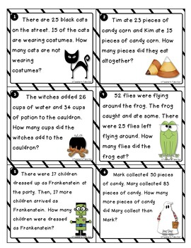 Halloween Word Problems using 2-Digit Addition and Subtraction