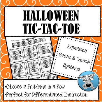 Halloween Problems Tic-Tac-Toe (Equations, Systems, Guess