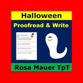 Halloween Proofread and Write 4th Grade Homework