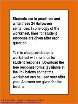 Halloween Proofread and Write 4th Grade Homework