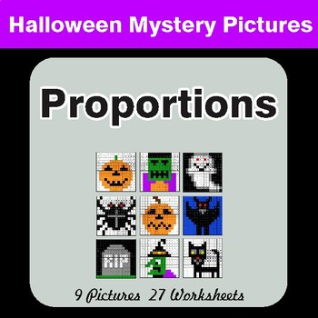 Proportions - Color-By-Number Halloween Math Mystery Pictures