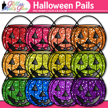 Buckets of Pumpkin Clip Art {Trick-or-Treat Halloween Grap