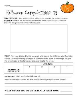 Halloween Pumpkin Candy Catapult Engineering Science Challenge STEM