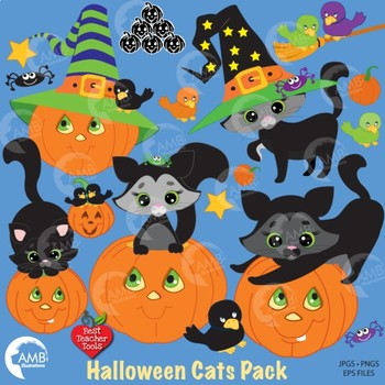 Halloween Pumpkin Cat Clipart, {Best teacher Tools} AMB-298