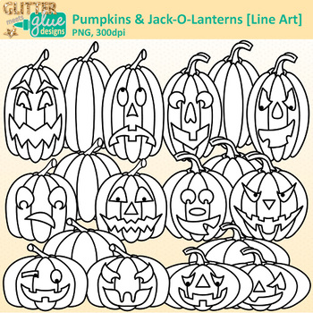 Halloween Pumpkin Clip Art {Jack-O-Lantern Graphics for Worksheets} B&W