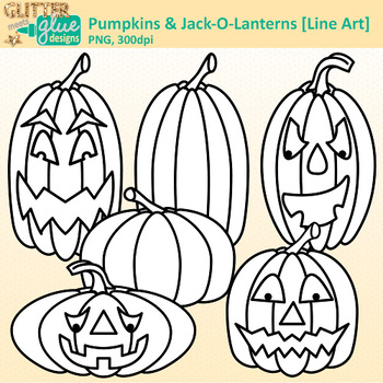 Halloween Pumpkin Clip Art | Jack-O-Lantern Graphics for Worksheets | B&W