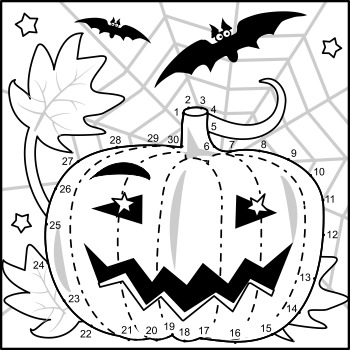 Halloween Pumpkin Connect the Dots and Coloring Page, Commercial Use Allowed