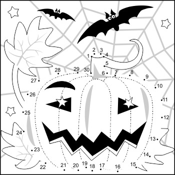 Halloween Pumpkin Connect the Dots and Coloring Page, Comm