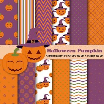 Halloween Pumpkin Digital Paper + Clipart