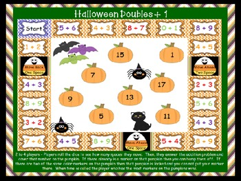 Halloween Pumpkin  Doubles Plus 1 Math Facts Game
