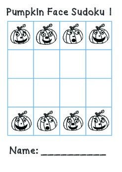 Halloween Pumpkin Face Sudoku 4 x 4 Puzzles Cut & Paste 3 Different