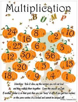 Halloween Pumpkin Fall Multiplication BUMP Game
