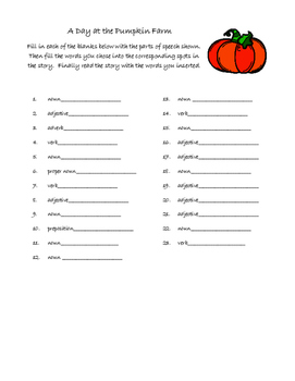 Halloween Pumpkin Farm Mad Libs