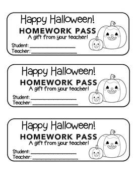 """""""Halloween"""" Pumpkin Friends - Homework Pass –Holiday FUN! (black line version)"""