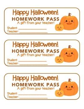 """""""Halloween"""" Pumpkin Friends - Homework Pass – Holiday FUN! (full color version)"""