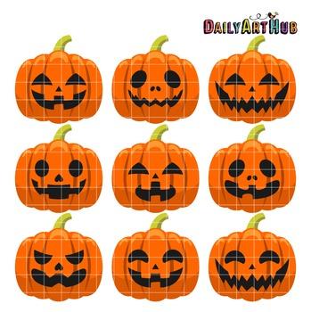 Halloween Pumpkin Heads Clip Art - Great for Art Class Projects!