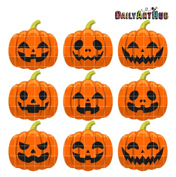 Halloween Pumpkin Heads Clip Art - Great for Art Class Projects!