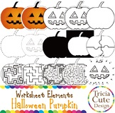 Halloween Pumpkin Jack O'Lantern Worksheet Elements