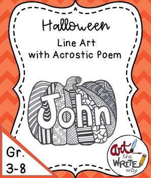 Halloween Pumpkin Line Art and Poetry