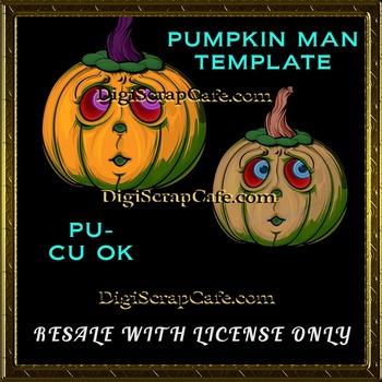 Halloween Pumpkin Man PSD Template Commercial Use Resale