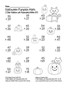 """Halloween Pumpkin Math"" 2 Digit Addition With Regrouping - FUN! (black line)"