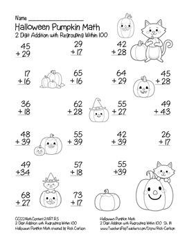"""Halloween Pumpkin Math"" 2 Digit Addition With Regrouping - FUN! (black line)"