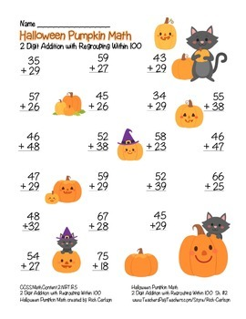 """Halloween Pumpkin Math"" 2 Digit Addition With Regrouping - FUN! (color)"