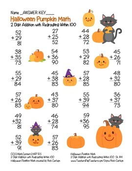"""""""Halloween Pumpkin Math"""" 2 Digit Addition With Regrouping! (color & black line)"""
