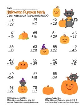 """Halloween Pumpkin Math"" 2 Digit Addition With Regrouping! (color & black line)"