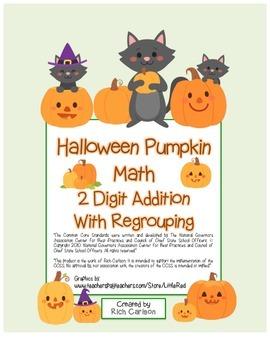 """Halloween Pumpkin Math"" 2 Digit Addition With Regrouping!"