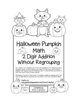 "Halloween Pumpkin Math"" 2 Digit Addition Without Regroupin"